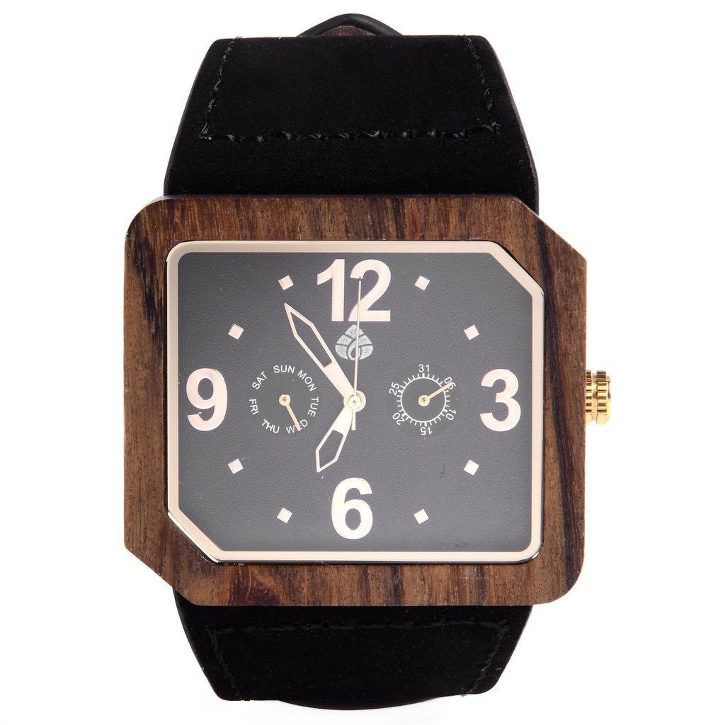 The Terra Juglan GOLD, 100% natural recycled Walnut Mens Wood watch with Italian leather strap - Mule Ties