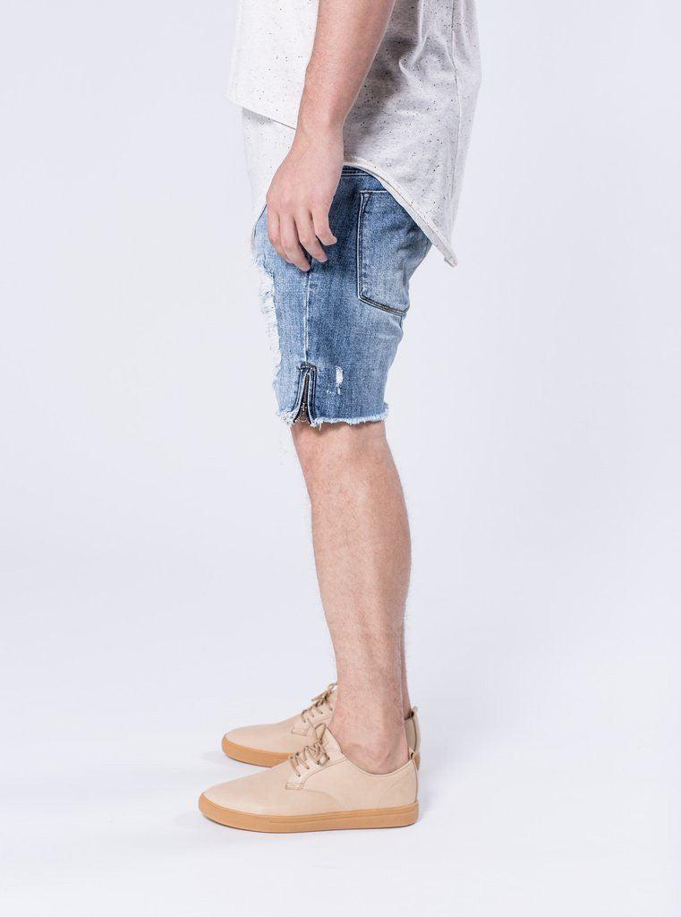 KALOX DESTROYED - OCEAN BLUE JEAN SHORTS - Mule Ties