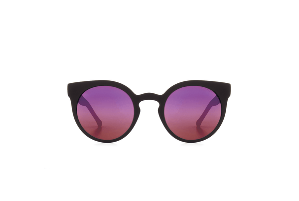Komono - Lulu Black Rubber Purple Mirror Sunglasses - Mule Ties