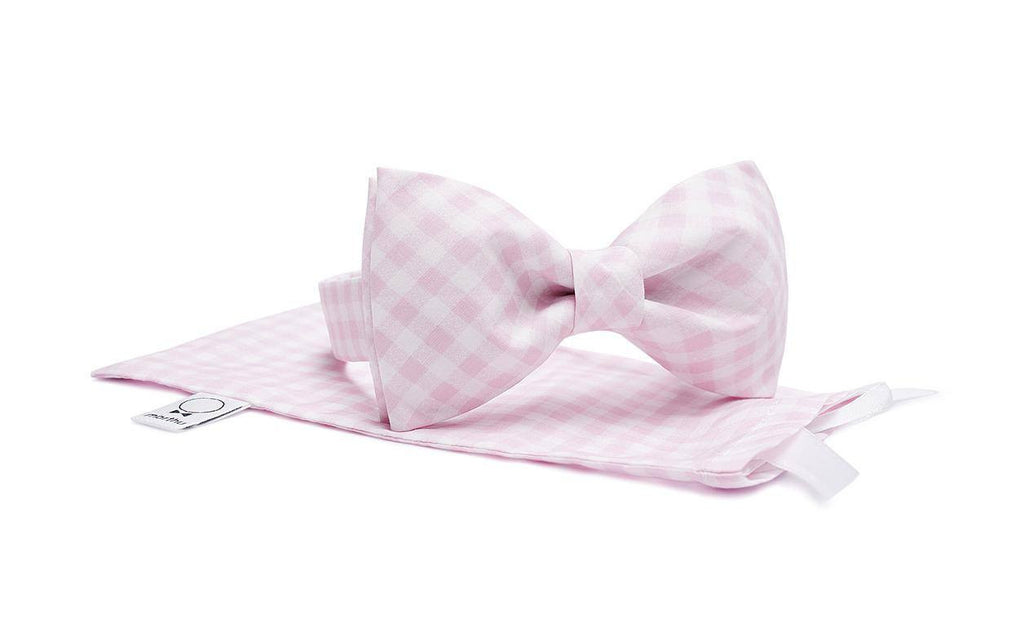 Soft Pink & White Checkered Bow Tie - Mule Ties