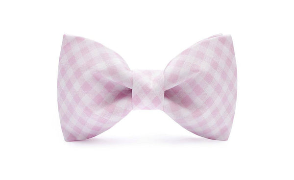02Mule Soft Pink & White Checkered Bow Tie - bowtie - MuleTies - 1