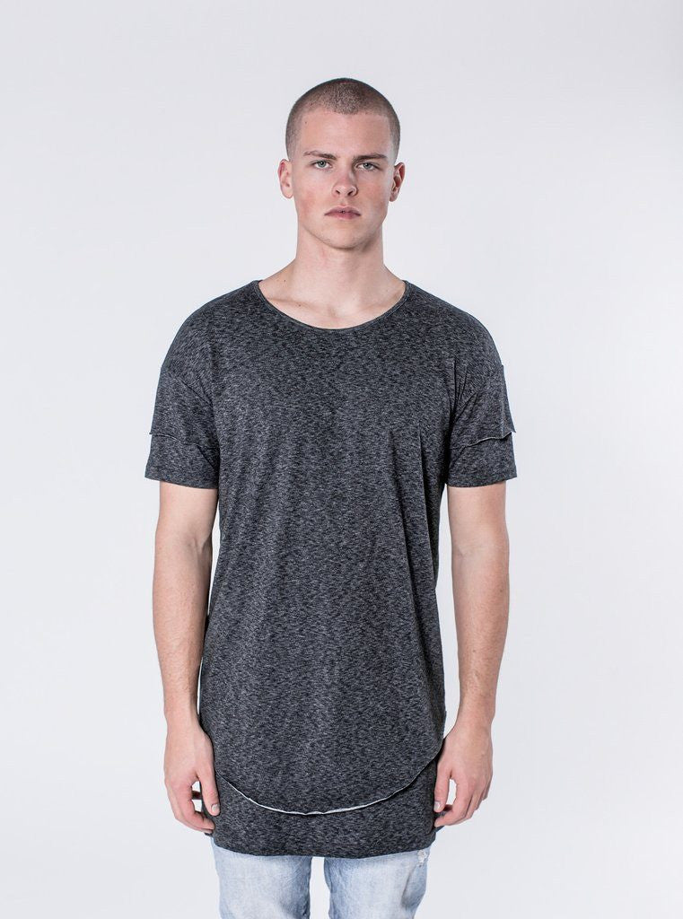 KOLLAR CLOTHING. Slugger - Charcoal The Slugger is a perfect fitting double layered scooped shirt with a double sleeve detail with a drop shoulder look. This shirt takes the work out of creating a perfect layered look. The top layer has a raw hems and a scoop cut, while the bottom layer has a elongated straight cut hem. This design comes with our signature cut and sew detail on the rear.