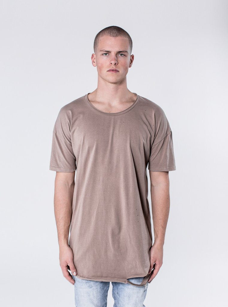 KOLLAR CLOTHING. The Taylor is a perfect fitting scooped shirt with slight hand ripped detailing. This design comes with our signature cut and sew detail on the rear. This shirt is a staple for any outfit.