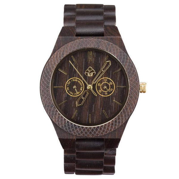 Leafwood, The Juglan Nut Gold, Natural Recycled Sandalwood Mens Wood Watch