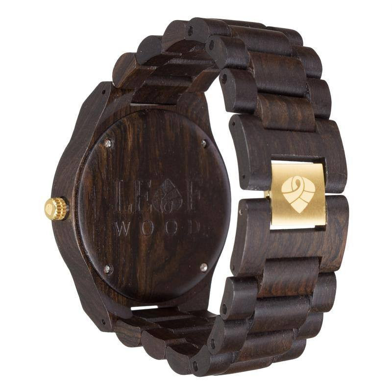 Leafwood, The Juglan Nut Gold, Natural Recycled Sandalwood Mens Wood Watch - Mule Ties