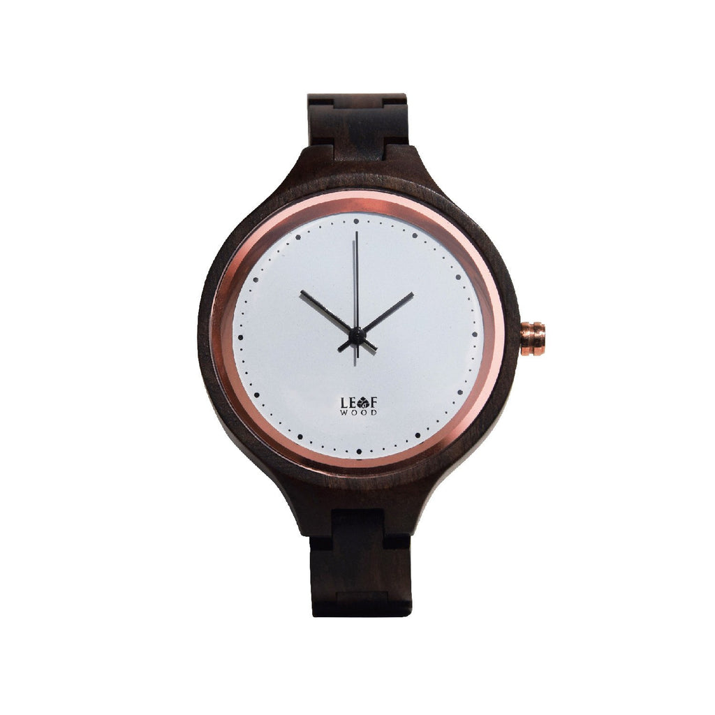 Leafwood, The Virago, Natural Recycled Black Brown Sandalwood Womens Wood Wrist Watch - Mule Ties
