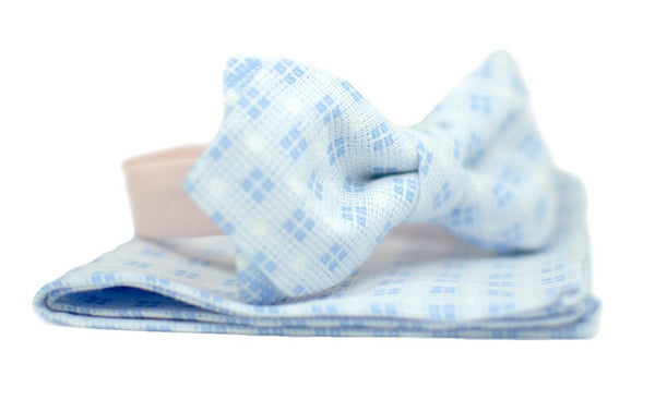 Baby Blue Checkered Bow Tie - Mule Ties