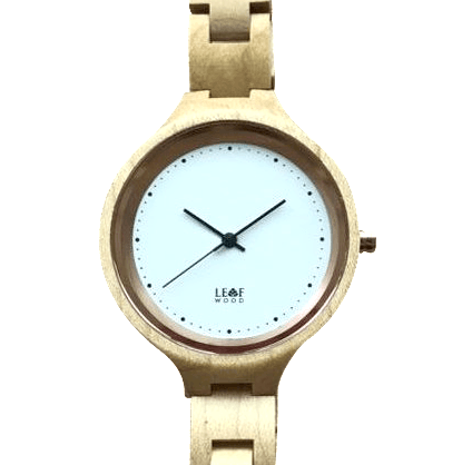 Leafwood, The Virago, Natural Recycled Beige Maplewood Womens Wood Wrist Watch - Mule Ties