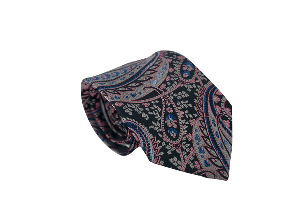 Self-Made (Grey & Pink) Paisley Neck Tie - Mule Ties