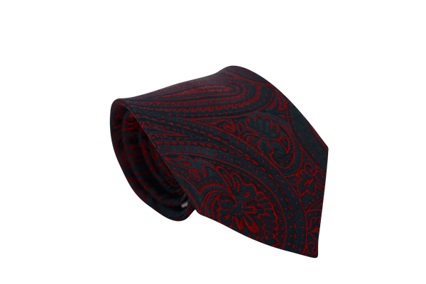 Serendipity (Black & Burgundy) Paisley Neck Tie - Mule Ties