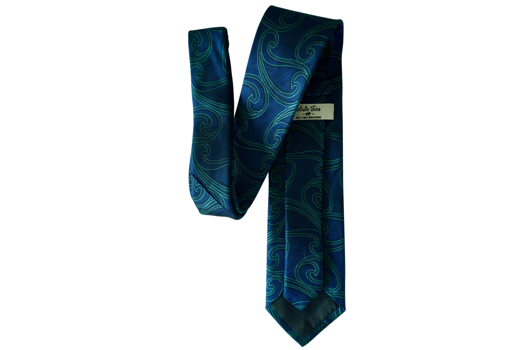 Honor (Blue & Teal) Paisley Neck Tie - Mule Ties
