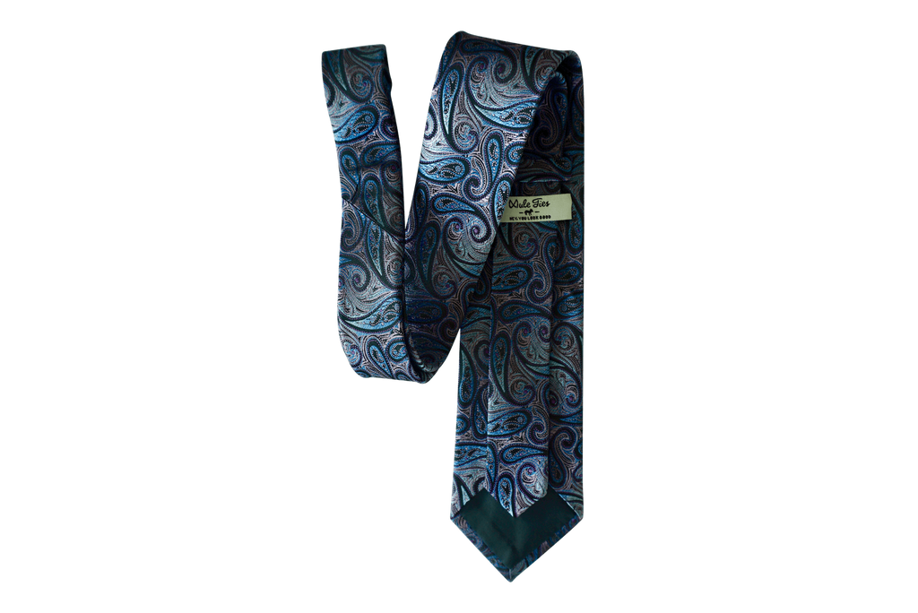 Virtue (Lilac & Blue) Paisley Silk Neck Tie - Mule Ties