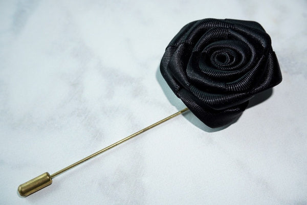 Envy Me Black Flower Lapel - MuleTies - 1