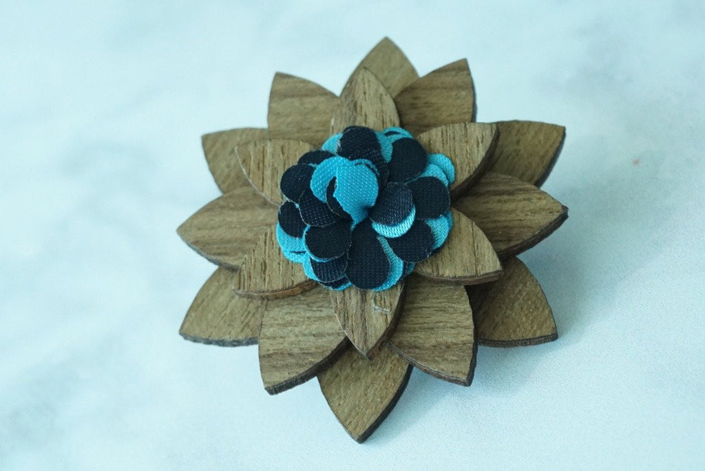 Wooden Flower Lapel Pin - Teal/Navy - Mule Ties
