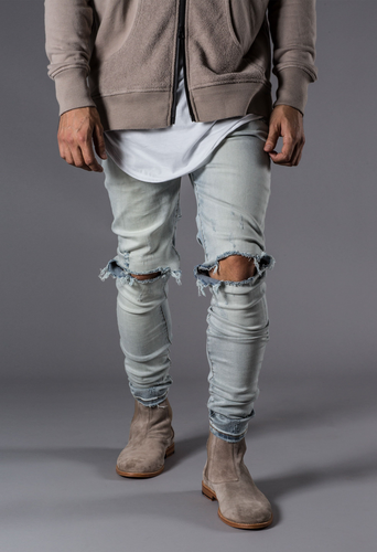 Blown Out Knee Denim - Minimal Acid Blue