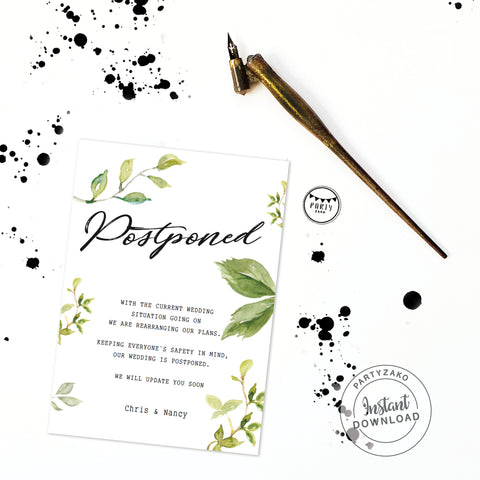 Postponed Wedding Greenery Editable Invitation