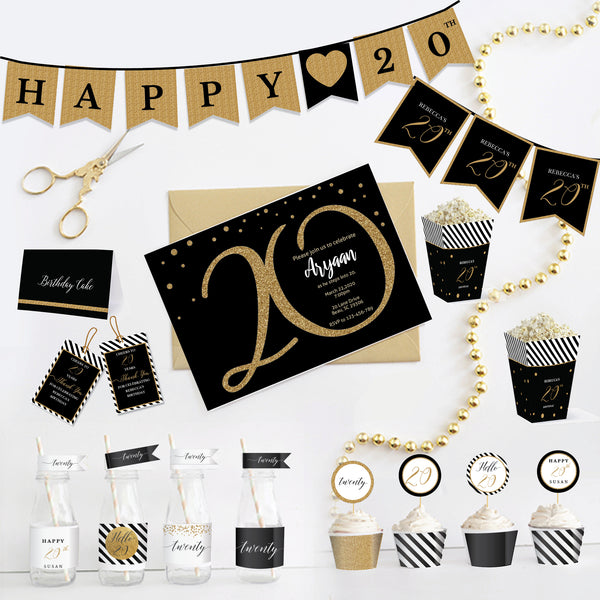 20th Birthday Black and Gold Printable Party Kit - Twenty