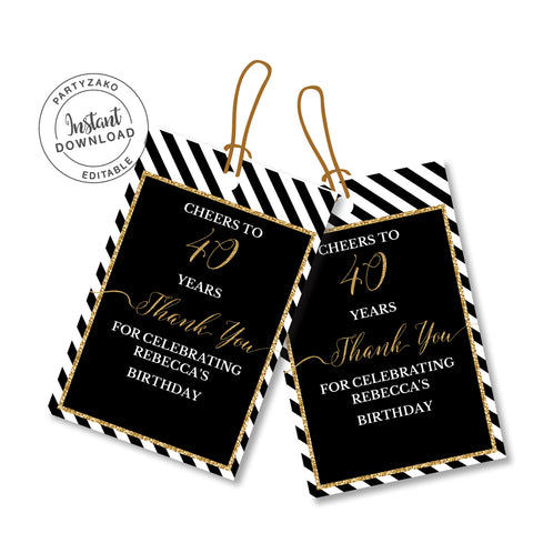 Forty Black and gold 40th Favor Tags