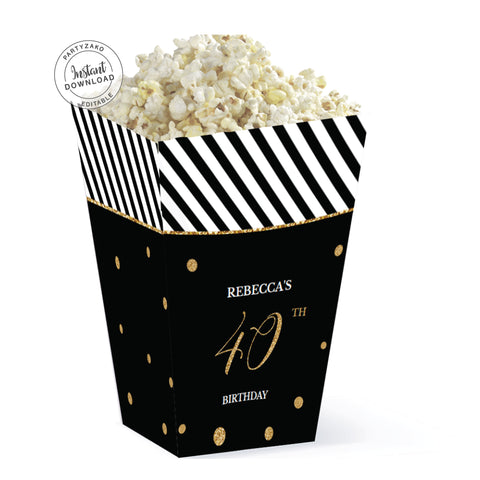 Forty Black and gold 40th Popcorn Box