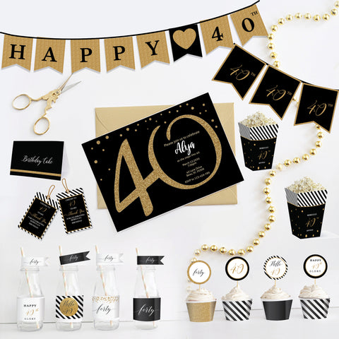 40th Birthday Black and Gold Printable Party Kit - Forty