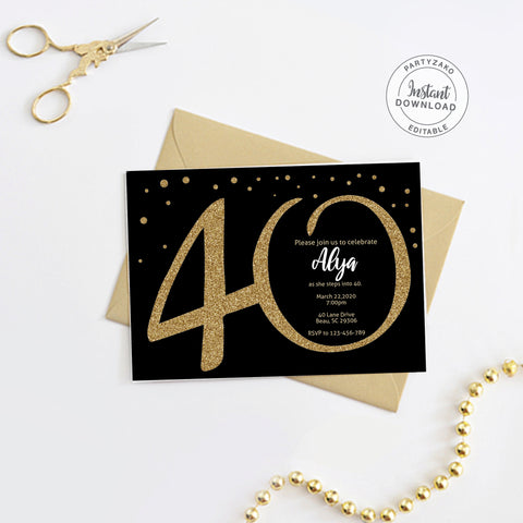 Forty Black and gold 40th Birthday Invitation