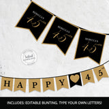 Forty Five Black and gold Bunting Pennant Banner