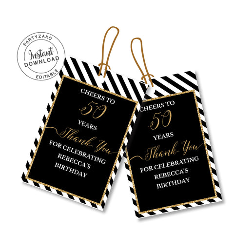 Fifty Black and gold 50th Favor Tags