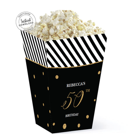 Fifty Black and gold 50th Popcorn Box