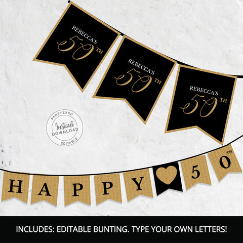 Fifty  Black and gold Bunting Pennant Banner