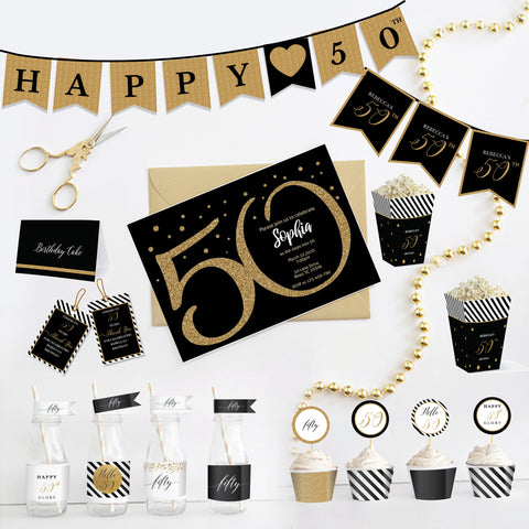 50th Birthday Black and Gold Printable Party Kit - Fifty