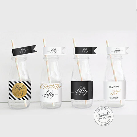Fifty Black and gold 50th Water Label