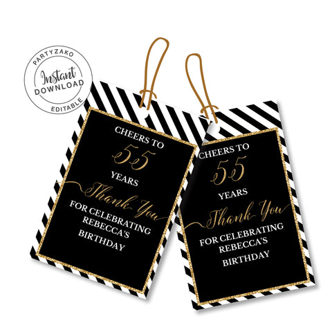 Fifty Five Black and gold 55th Favor Tags