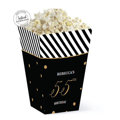 Fifty Five Black and gold 55th Popcorn Box