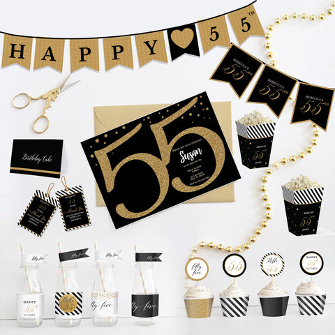 55th Birthday Black and Gold Printable Party Kit - Fifty Five