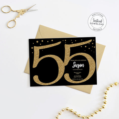 Fifty Five Black and gold 55th Birthday Invitation