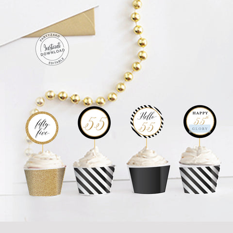 Fifty Five Black and gold 55th Cupcake Topper and Wrapper