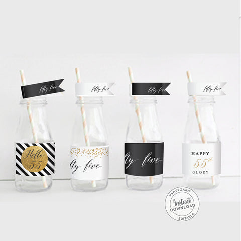 Fifty Five Black and gold 55th Water Label