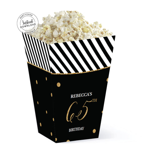 Sixty Five Black and gold 65th Popcorn Box