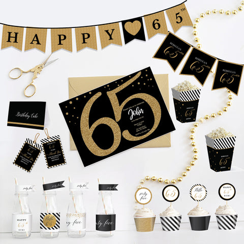 65th Birthday Black and Gold Printable Party Kit - Sixty Five
