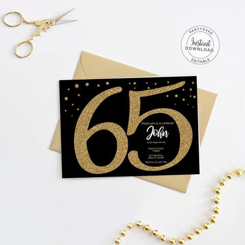 Sixty Five Black and gold 65th Birthday Invitation