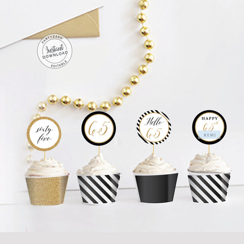 Sixty Five Black and gold 65th Cupcake Topper and Wrapper