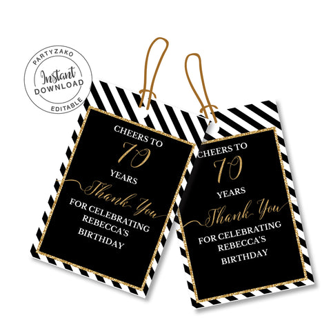 Seventy Black and gold 70th Favor Tags