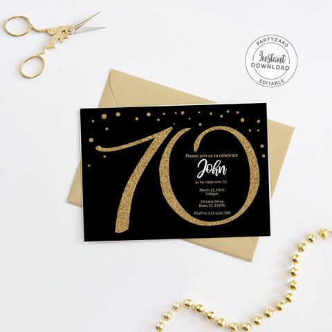 Seventy Black and gold 70th Birthday Invitation