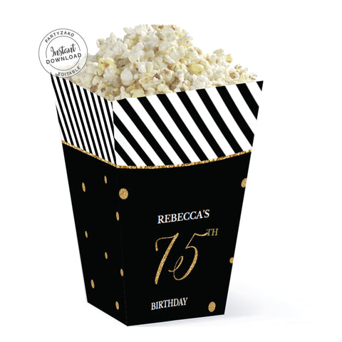 Seventy Five Black and gold 75th Popcorn Box