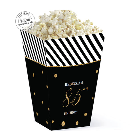 Eighty Five Black and gold 85th Popcorn Box