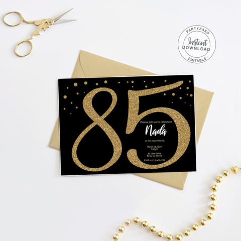 Eighty Five Black and gold 85th Birthday Invitation