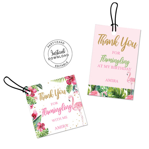 Flamingo Favor Tags