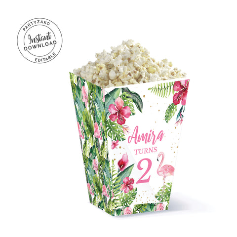 Flamingo Popcorn Box