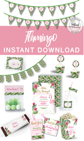 Flamingo Birthday Printable Decor Kit