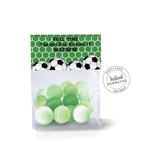 Soccer Treat Bag Topper
